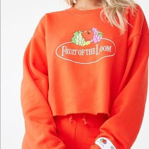 F21 x Fruit of the loom cropped sweater